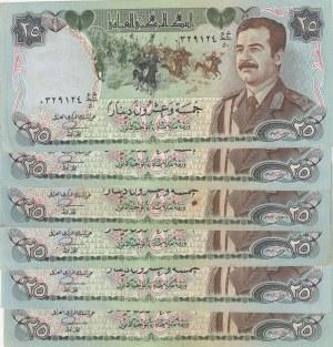 Iraq, 25 Dinars, 1986, XF, p73, Total 6 banknotes