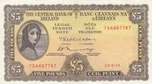 Ireland, 5 Pounds, 1974, XF, p65c