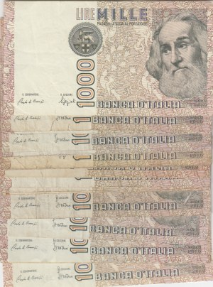 Italy, 1000 Lire, 1982, VF, p109, Total 19 banknotes