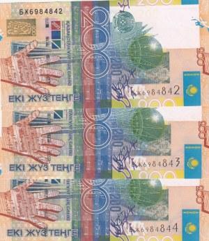 Kazakhstan, 200 Tenge, 2006, UNC, p28, total 3 banknotes