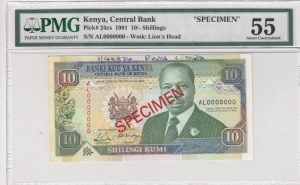 Kenya, 10 shillings, 1991, AUNC, p24cs, SPECIMEN