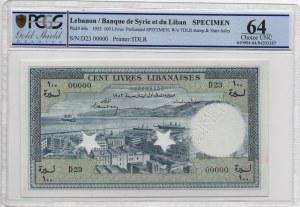 Lebanon, 100 Livres, 1952, UNC, p60s