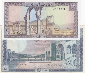 Lebanon, 10/100 Livres, 1964/88, Different conditions between AUNC and XF, p66, 2 Different banknotes