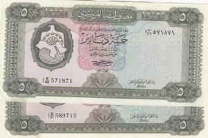 Libya, 5 Dinars, 1972, XF, p36b, Total 2 banknotes