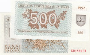 Lithuania,  UNC,  Total 2 banknotes