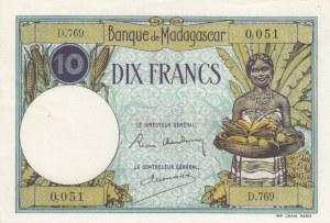 Madagascar, 10 Francs, 1937/1947, AUNC(-), p36