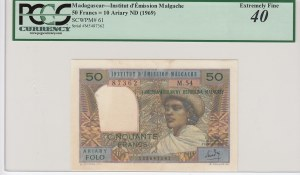 Madagascar, 50 Francs=10 Ariary, 1969, XF, p61