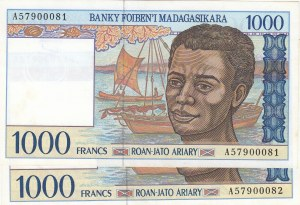 Madagascar, 1.000 Francs, 1994, AUNC, p76