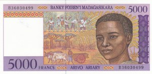 Madagascar, 5.000 Francs or 1.000 Ariary, 1995, UNC, p78a
