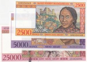 Madagascar , 2.500 Francs, 5.000 Francs and 10.000 Francs, 1995/1998, UNC, p81, p78, p82, (Total 3 banknotes)