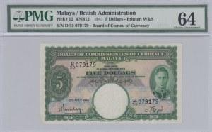Malaya and British Borneo, 5 Dollars, 1941, UNC, p12