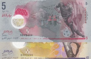 Maldives,  UNC,  2 polymer plastic banknotes