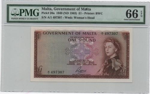Malta, 1 Pound, 1963, UNC, p26a