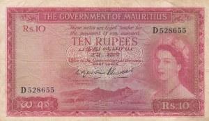 Mauritius, 10 Rupees, 1954, VF, p28