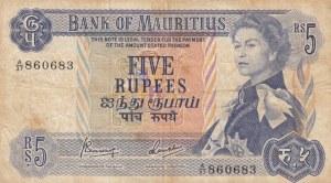 Mauritius, 5 Rupees, 1967, FINE(+), p30c