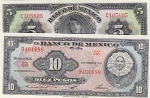 Mexico,  UNC,  total 2 banknotes