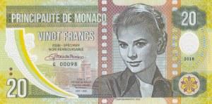 Monaco, 20 Francs, 2018, UNC, pNew, Test Note, SPECIMEN