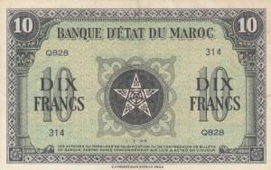 Morocco, 10 France, 1944, AUNC(-), p25a