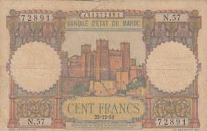 Morocco, 100 Francs, 1952, POOR, p45