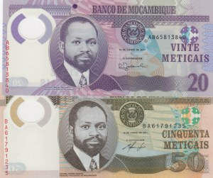 Mozambique,  Total 2 banknotes