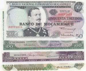 Mozambique,  Total 4 banknotes