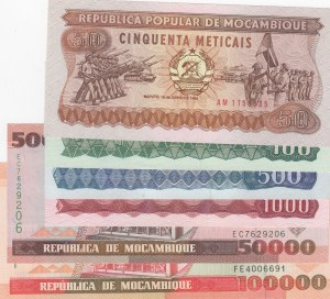 Mozambique,  Total 6 banknotes