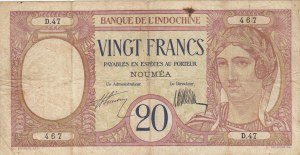 New Caledonia, 20 Francs, 1929, VF, p37a