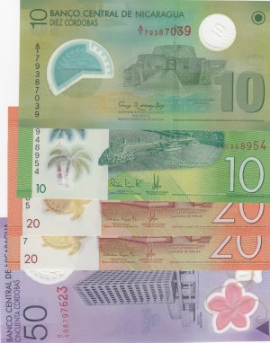 Nicaragua,  Different 5 polymer plastic banknotes