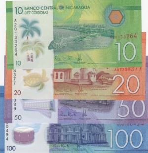 Nicaragua,  Total 4 polymer plastic banknote
