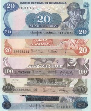Nicaragua,  Total 5 banknotes