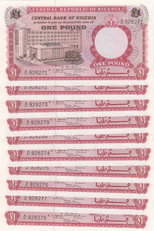 Nigeria, 1 Pound, 1967, UNC, p8, (Total 10 consecutive banknotes)