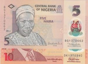 Nijerya,  UNC,  Total 2 banknotes