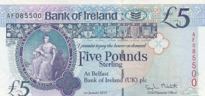 Northern Ireland, 5 Pounds, 2013, UNC, p86a