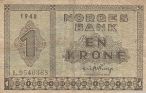 Norway, 1 Krone, 1948, VF, p15b