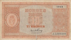 Norway, 10 Kroner, 1949, POOR, p26j