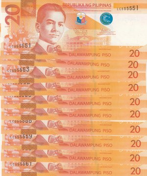 Philippines, 20 Piso, 2014, UNC, p206, (Total 10 banknotes)