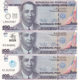 Philippines,  Total 3 banknotes