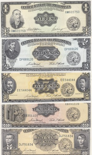Philippines,  UNC,  Total 4 banknotes