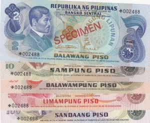 Philippines, 2 Piso, 10 Piso, 20 Piso, 50 Piso and 100 Piso, 1973, UNC, p159a, p161a, p162a, p163a, p164a, (Total 5 banknotes), SPECİMEN