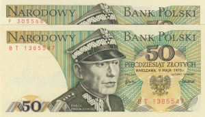 Poland, 50 Zlotych, 1975, UNC, p142a, Total 2 banknotes