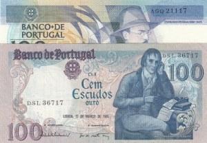 Portugal, 100 Escudos,   Total 2 banknotes