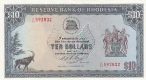 Rhodasia, 10 Dollars, 1975, AUNC, p33i