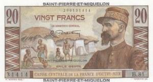 Saint Pierre and Miquelon, 20 Francs, 1950/1960, UNC, p24