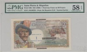 Saint Pierre and Miquelon, 1 Nouveau Franc on50 Francs, 1960, AUNC, p30b