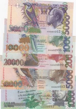 Saint Thomas And Prince, 5.000,10000,20.000,50.000,100.000 Dobras, 1996/2013, UNC, p65a, 66a, 67e, 68a, 69c