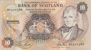 Scotland, 10 Pounds, 1990, VF, p113d