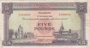 Scotland, 5 Pounds, 1951/1960, VF, p192a