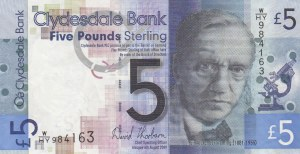 Scotland, 5 Pounds, 2009, XF, p229i