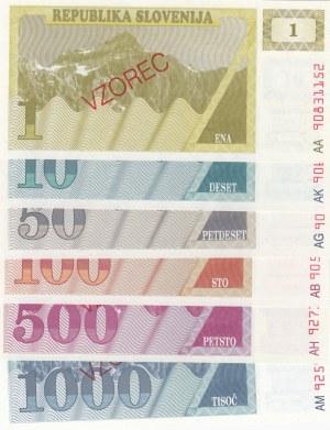 Slovenia, 1 Tolar, 10 Tolarjev, 50 Tolarjev, 100 Tolarjev, 500 Tolarjev and 1.000 Tolarjev, 1990, UNC, p1, p4, p5, p6, p8, p9, SPECIMEN, (Total 6 banknotes)