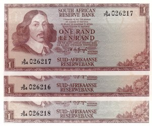 South Africa, 1 Rand, 1973, AUNC, p116a, Total 3 banknotes